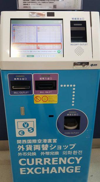 Máy đổi tiền Yên Nhật tại sân bay quốc tế  Kansai