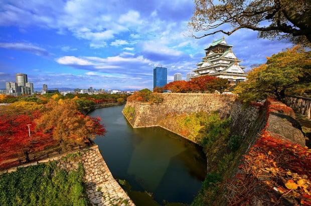 Sắc màu trời đất vào thu ở Lâu đài Osaka