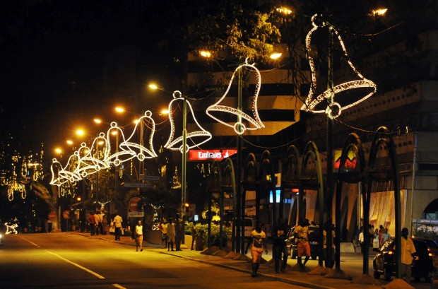 """Christmas lights light the streets of Abidjan on December 15, 2012 after the launch of the 2nd edition of """"Abidjan Perle des Lumieres"""" (Abidjan perle of lights) for Christmas and New Year celebrations. AFP PHOTO/ SIA KAMBOUSIA KAMBOU/AFP/Getty Images ORG XMIT: 568"""