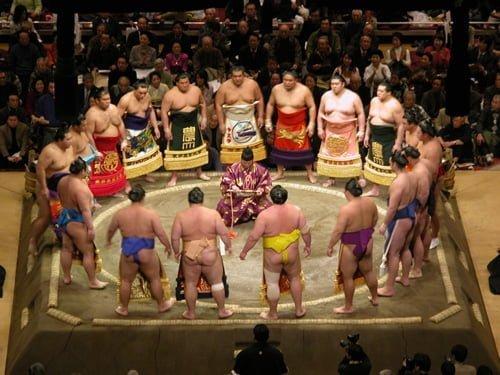 các vận động viên sumo tập hợp trước thi đấu