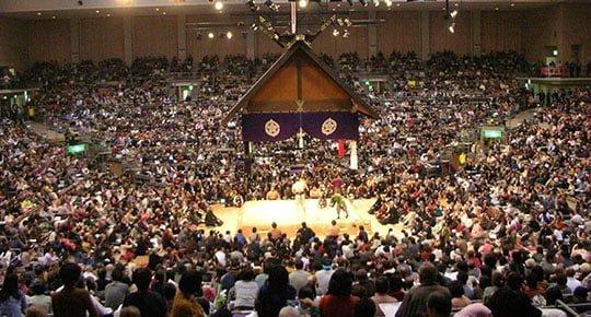 không khí náo nhiệt trong buổi đấu sumo ở Fukuoka
