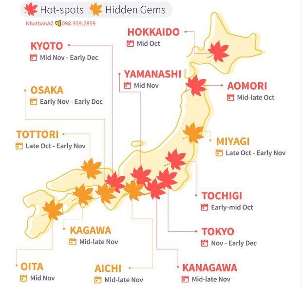 Lịch dự báo lá đỏ Nhật Bản 2019